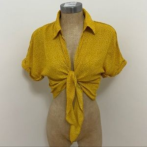 Urban Outfitters Yellow Polka Dot Tie Blouse Top